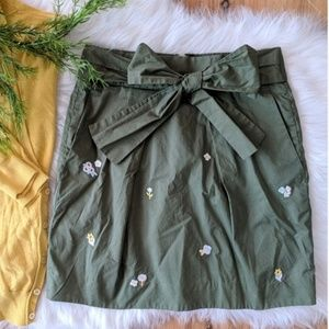 J. Crew • olive embroidered skirt, bow tie waist